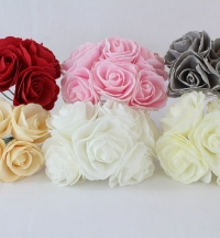 Colourfast 8cm Glitter Edge Large Open Rose Bunch of 6 Flowers Grey