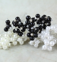 6mm Pearl With Rhinestone Cluster 3 Colours With Sliver Wire