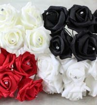 Trade artificial foam Roses, diamante centre in bunches of six.