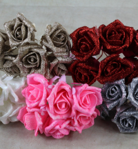 Glitter Foam Rose Bunch Of 6 Flowers Champagne