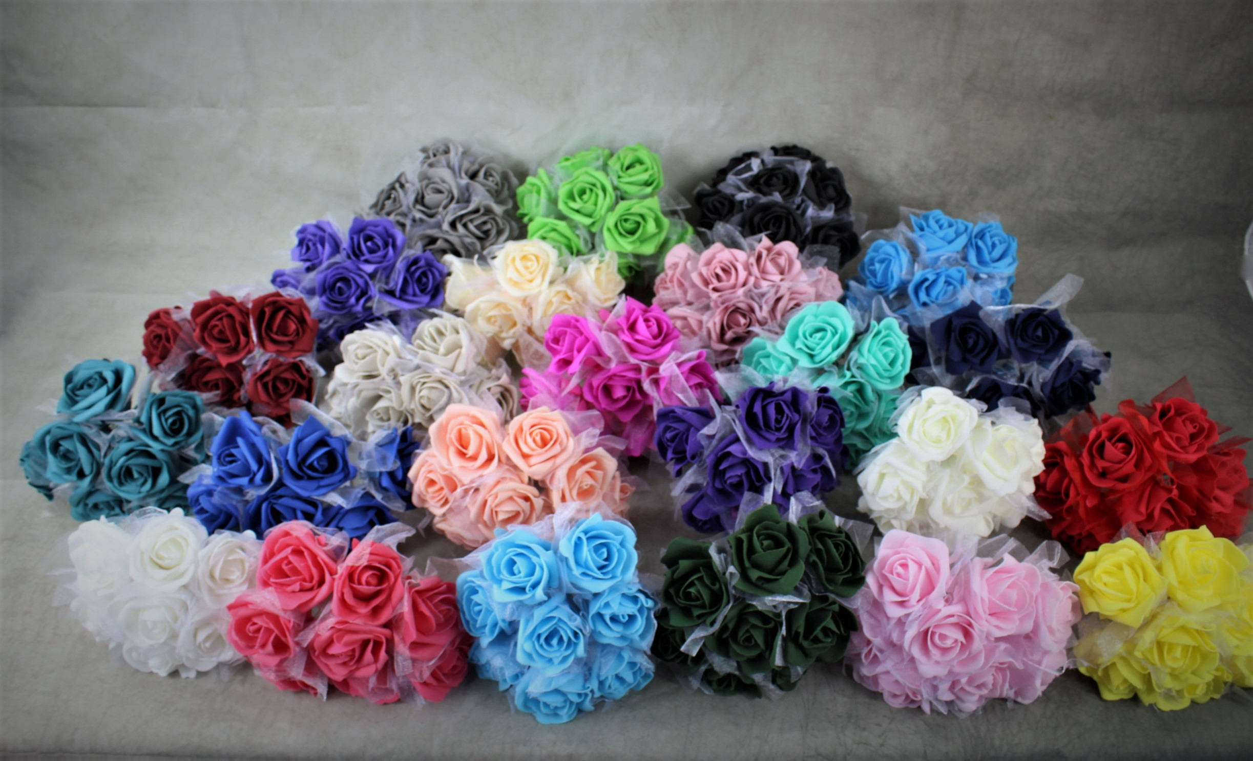 12 x Large Colourfast Foam Roses with Tulle Wrap