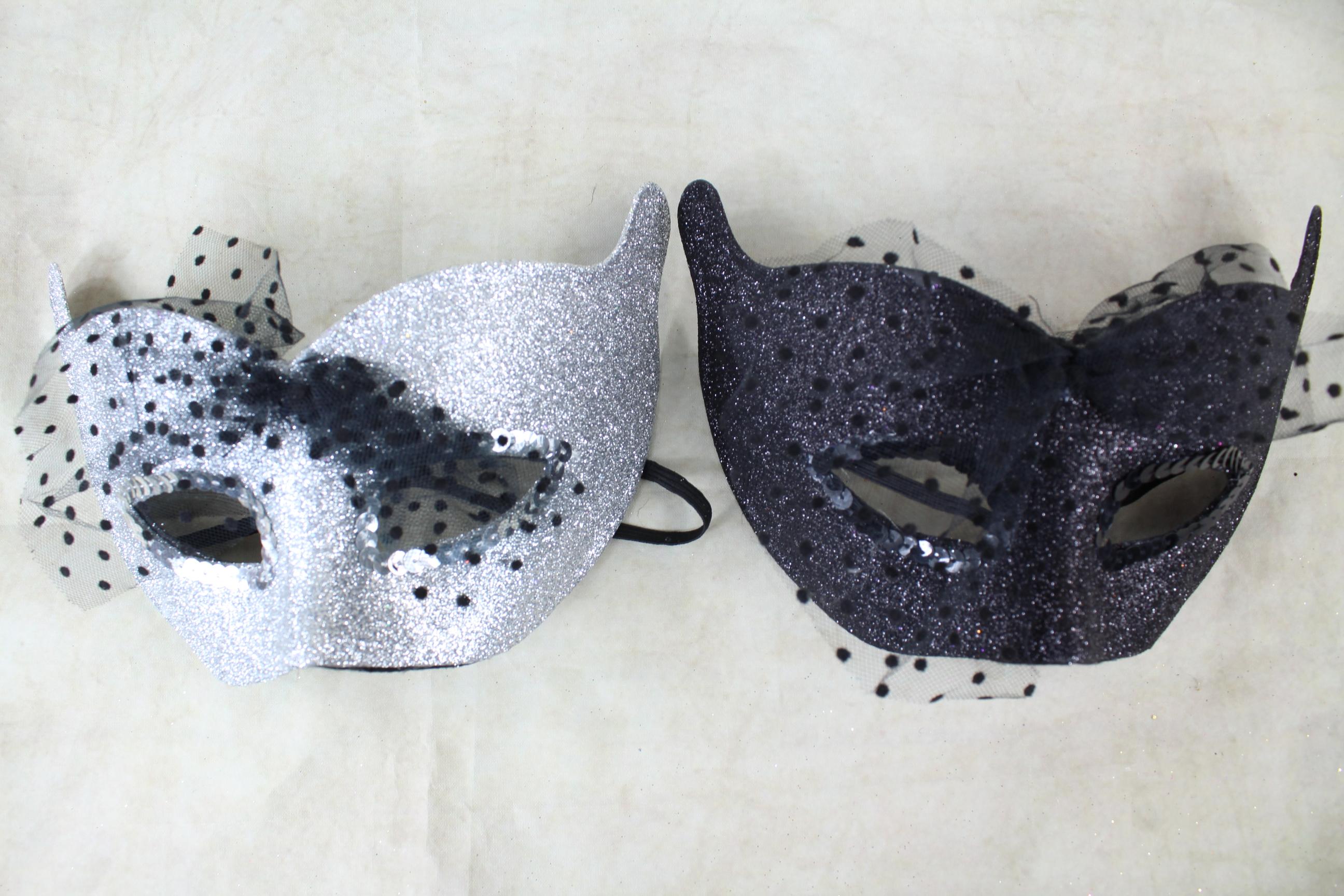 12 x Glitter Cat Masks