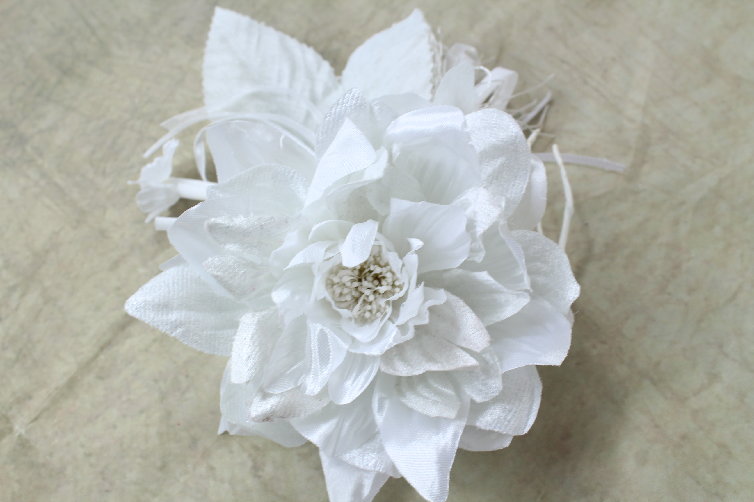 Satin Dahlia Corsage With Tassel And Ribbon Streamers