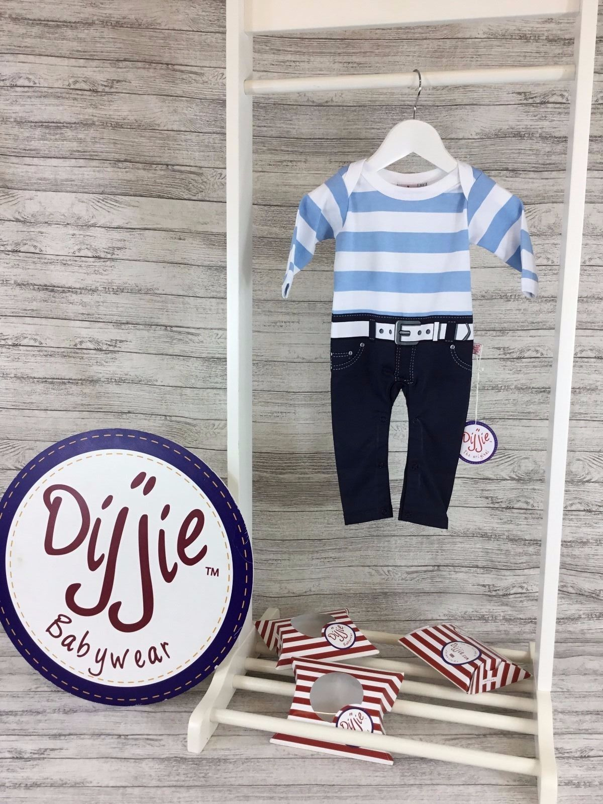 Blue & White Striped Romper Suit - BUY 1 GET 1 FREE!