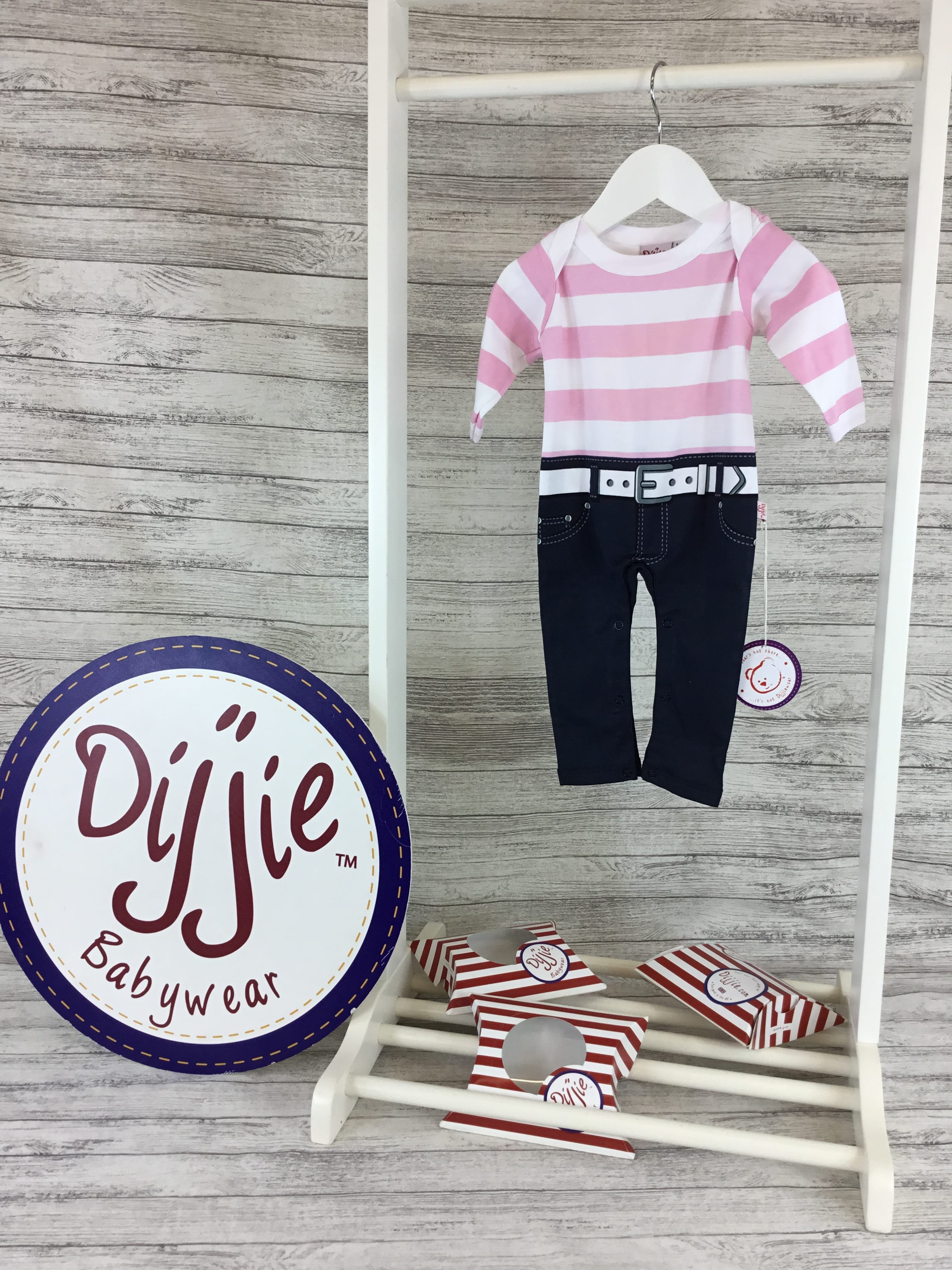 Pink & White Striped Romper Suit - BUY 1 GET 1 FREE!