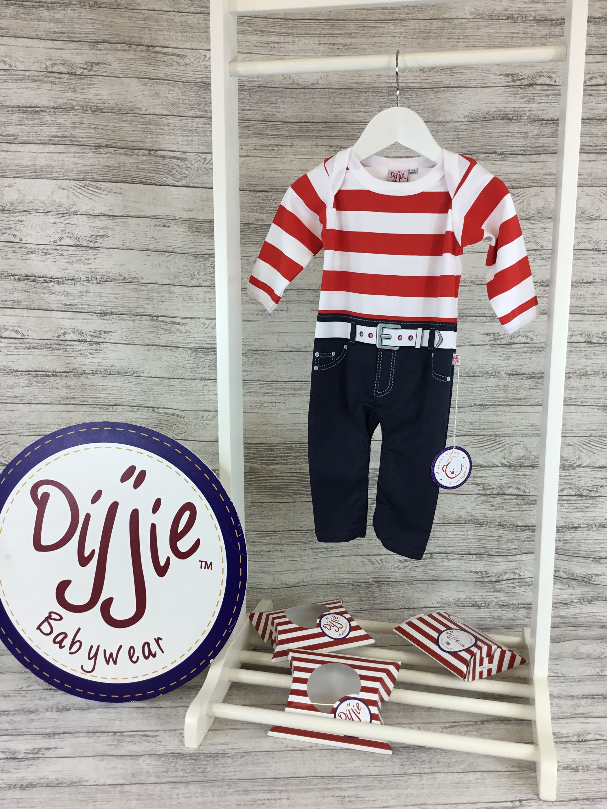 Red & White Striped Romper Suit - BUY 1 GET 1 FREE!