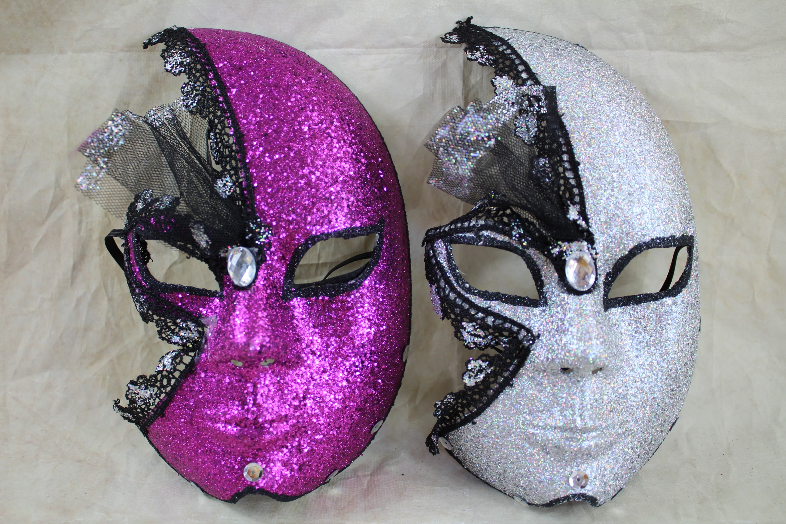 2 x full face glitter design mask (mixed pack) FREE MASK WITH EVERY MASK PURCHASE