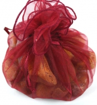 10 packs of 10, large round organza bags.