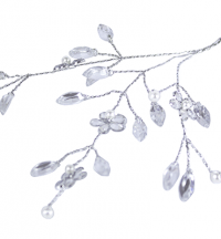 Spray of miniature crystal daises and leaves