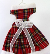 Miniature Tartan dress gift bag for your Christmas Tree.