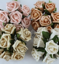 Pearlised Foam Rose Buds Bunch Of 8 Flowers