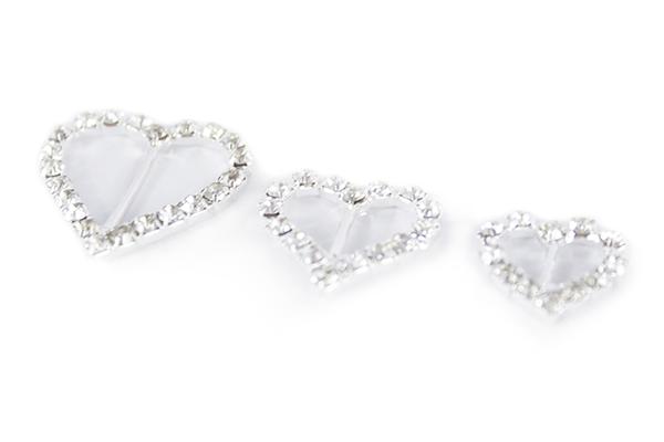 10x Small Diamanté Heart Ribbon Sliders