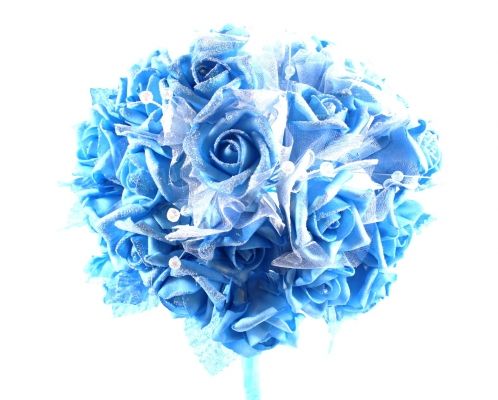 Our vibrant Blue rose bunch with glitter and beads